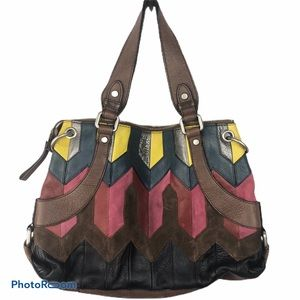 FOSSIL Colorful Leather & Suede Bag.